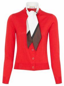 Burberry Scarf Detail Silk Cardigan - Red