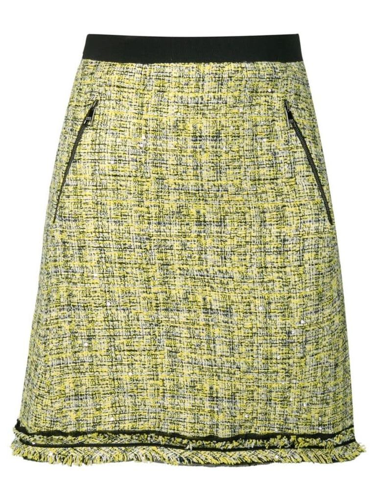 Karl Lagerfeld A-line boucle tweed skirt - Yellow