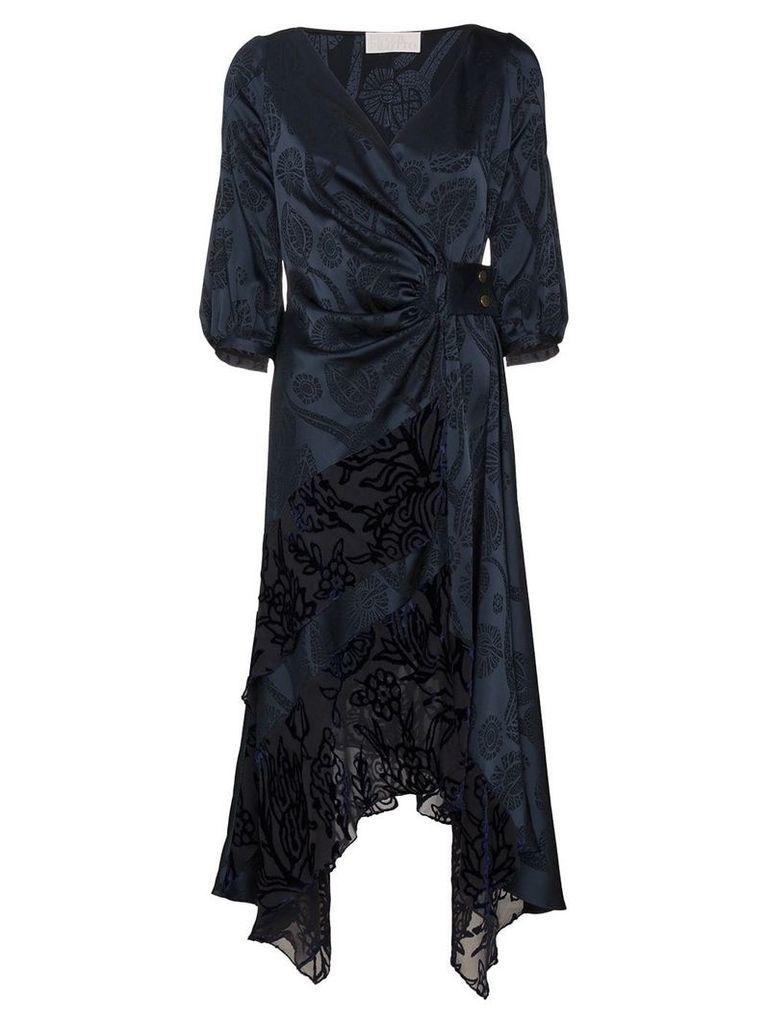 Peter Pilotto floral jacquard satin wrap dress - Blue