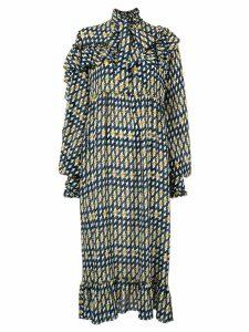 Rokh patterned midi dress - Blue