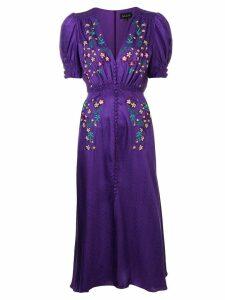 Saloni embroidered midi dress - Purple