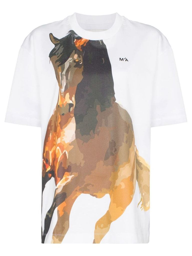 Marques'Almeida horse-print oversized cotton T-shirt - White