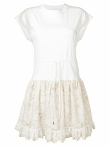 See By Chloé embroidered T-shirt dress - White