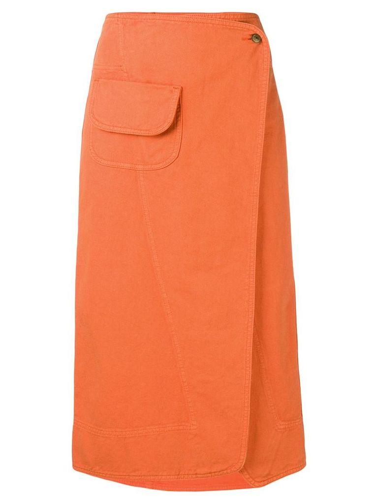 Henrik Vibskov Coco wrap denim skirt - Orange