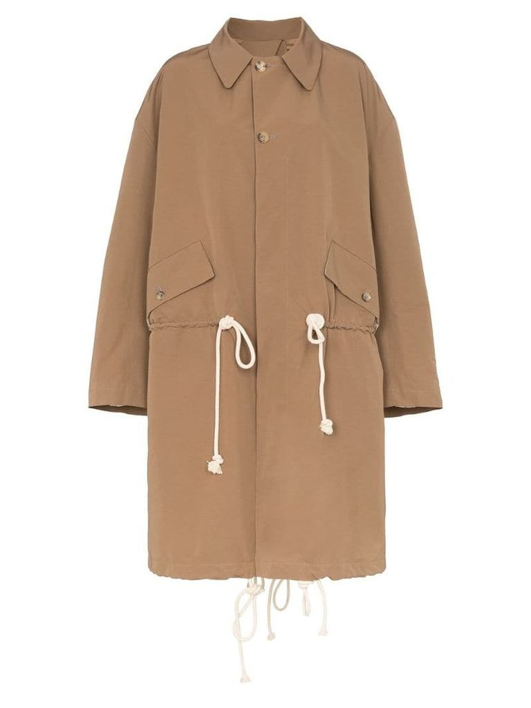 Plan C drawstring waist shoulder strap trench coat - Brown