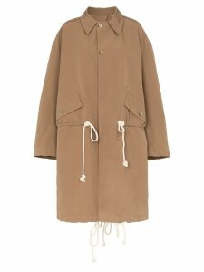Plan C drawstring waist shoulder strap trench coat - Brown