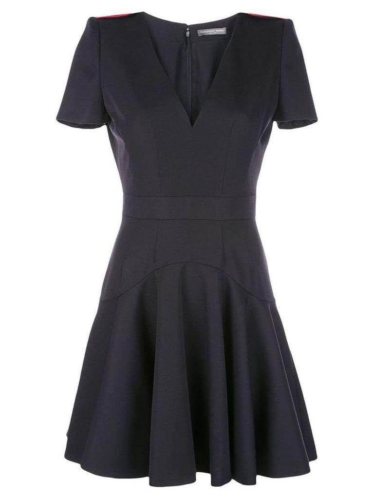 Alexander McQueen structured-shoulder dress - Blue