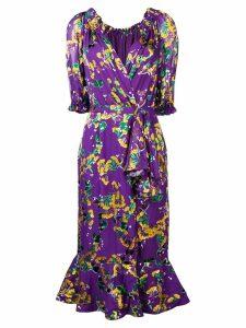 Saloni floral print wrap dress - Purple