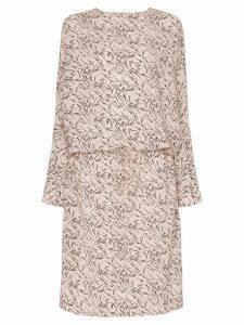 Plan C leaf print V back silk dress - Pink