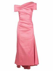 Talbot Runhof lamé off shoulder dress - Pink
