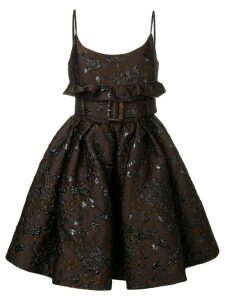 Prada floral embroidered belted dress - Brown