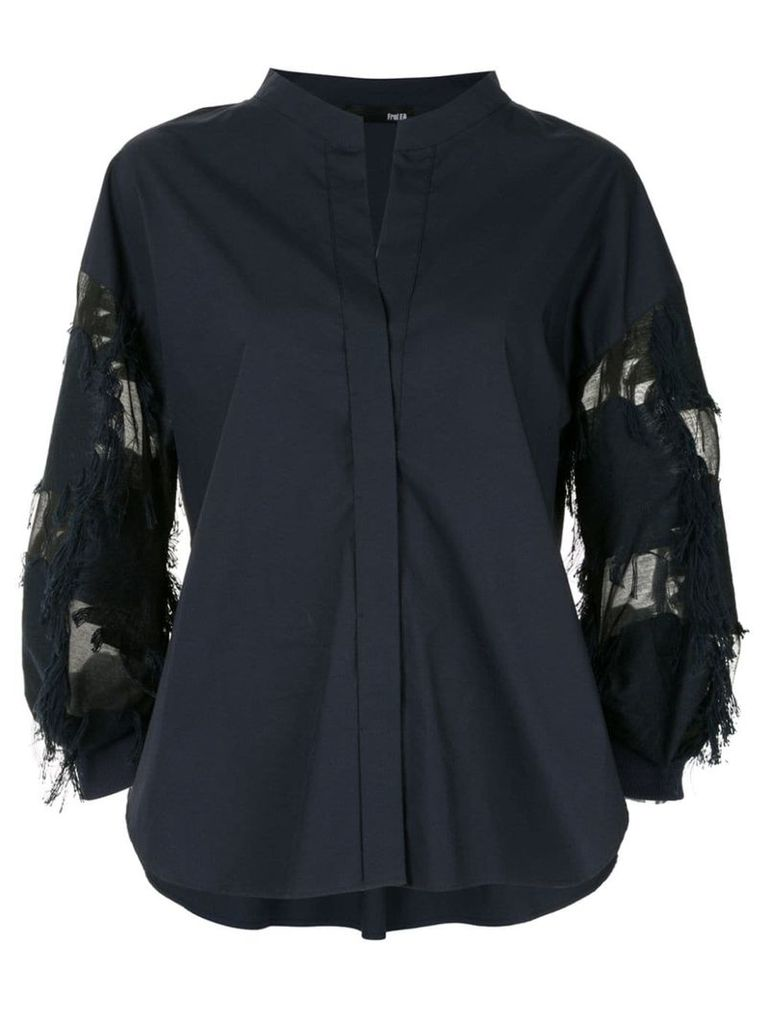 Frei Ea mandarin collar sheer panel shirt - Blue