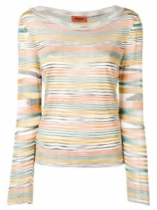 Missoni multicoloured stripe knitted top - Orange