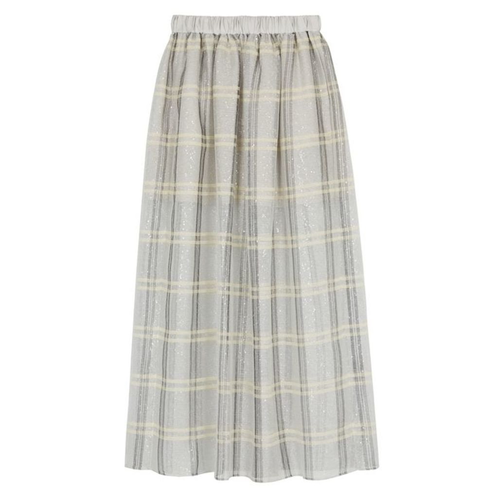 Emporio Armani Checked Sequin-embellished Organza Skirt