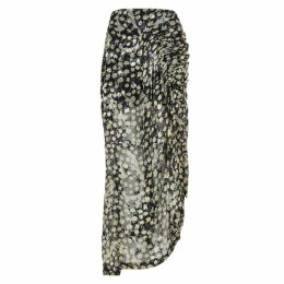 Preen By Thornton Bregazzi Janna Navy Printed Georgette Skirt