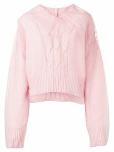 MSGM cable knit tulle jumper - Pink