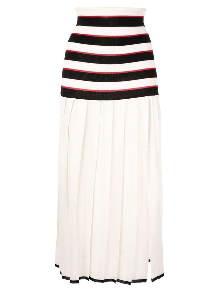 Sonia Rykiel pleated striped skirt - White