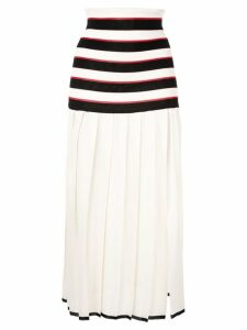 Sonia Rykiel pleated striped skirt - White