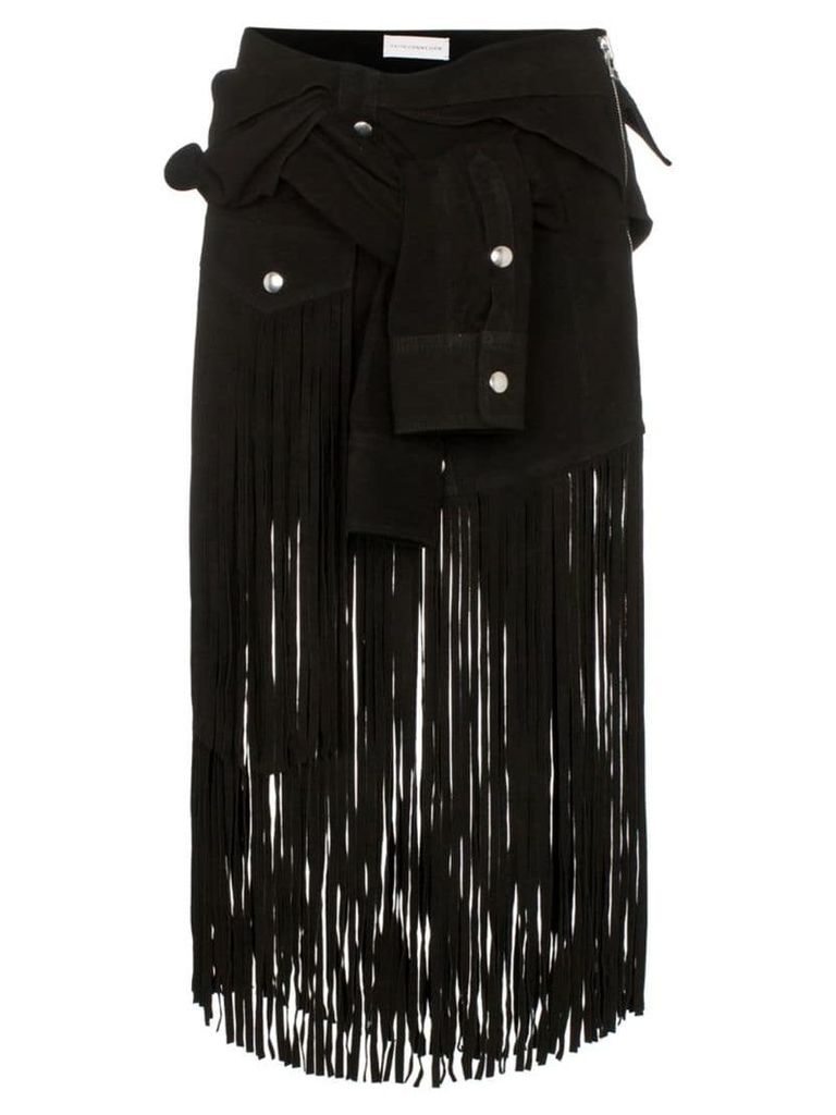 Faith Connexion sleeve detail fringed suede skirt - Black