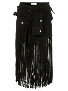 Faith Connexion sleeve detail fringed suede skirt - Black