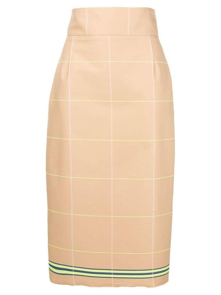 L'Autre Chose check pencil skirt - Neutrals