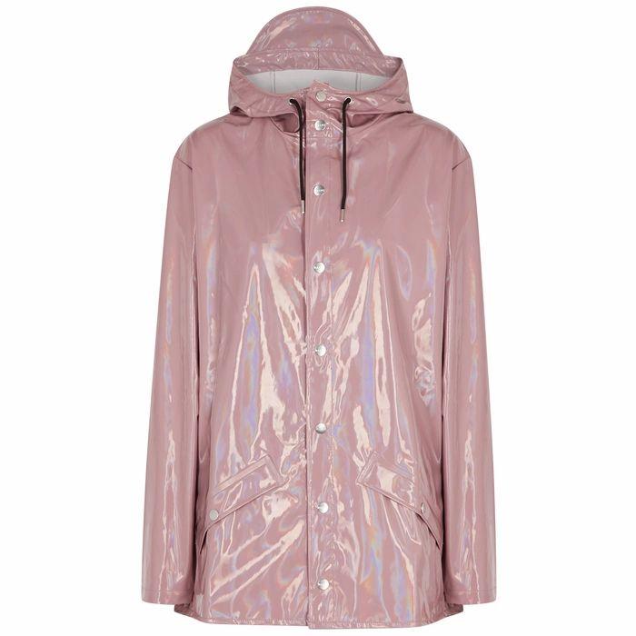 Rains Dusky Pink Holographic PVC Raincoat