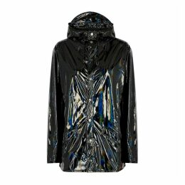 Rains Black Holographic PVC Raincoat