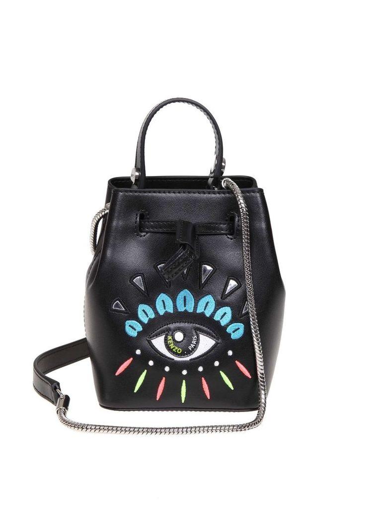 Kenzo Black Leather Bucket Bag