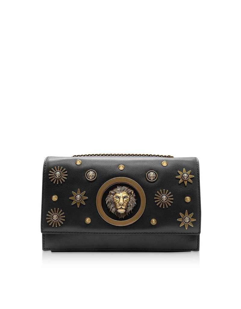 Versace Versus Designer Handbags, Black Leather Heritage Stud Shoulder Bag w/Antique Gold Lion and Stars