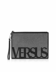 Versace Versus Designer Handbags, Signature Crystals and Suede Flat Clutch