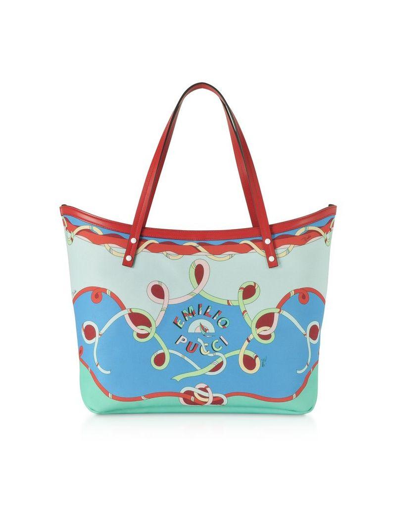 Emilio Pucci Designer Handbags, Cornflower Tote Bag w/Pouch