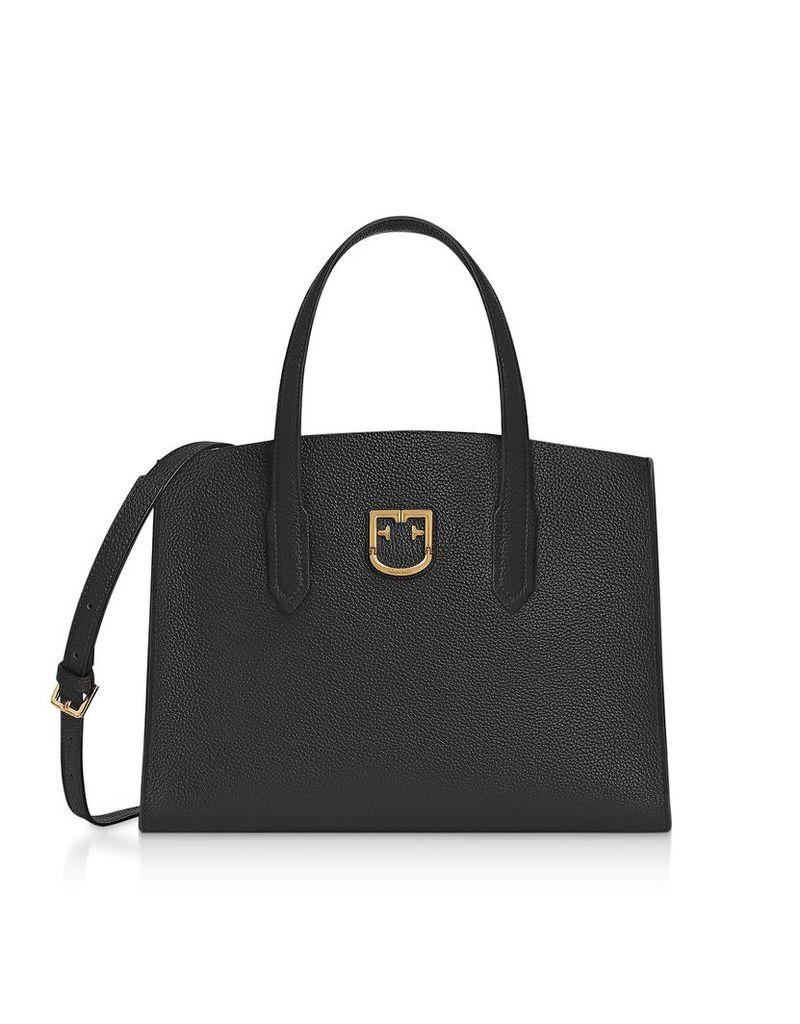 Furla Designer Handbags, Onyx Black Lodovica M Tote Bag