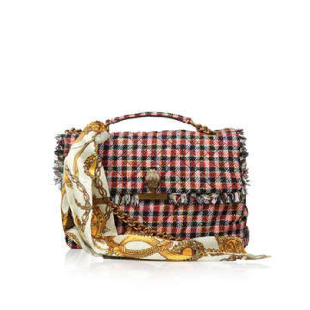 Kurt Geiger London Fabric Lg Kensington Bag - Red Fabric Shoulder Bag With Detachable Scarf