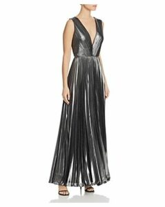 Aidan by Aidan Mattox Plunging Foiled-Chiffon Gown - 100% Exclusive