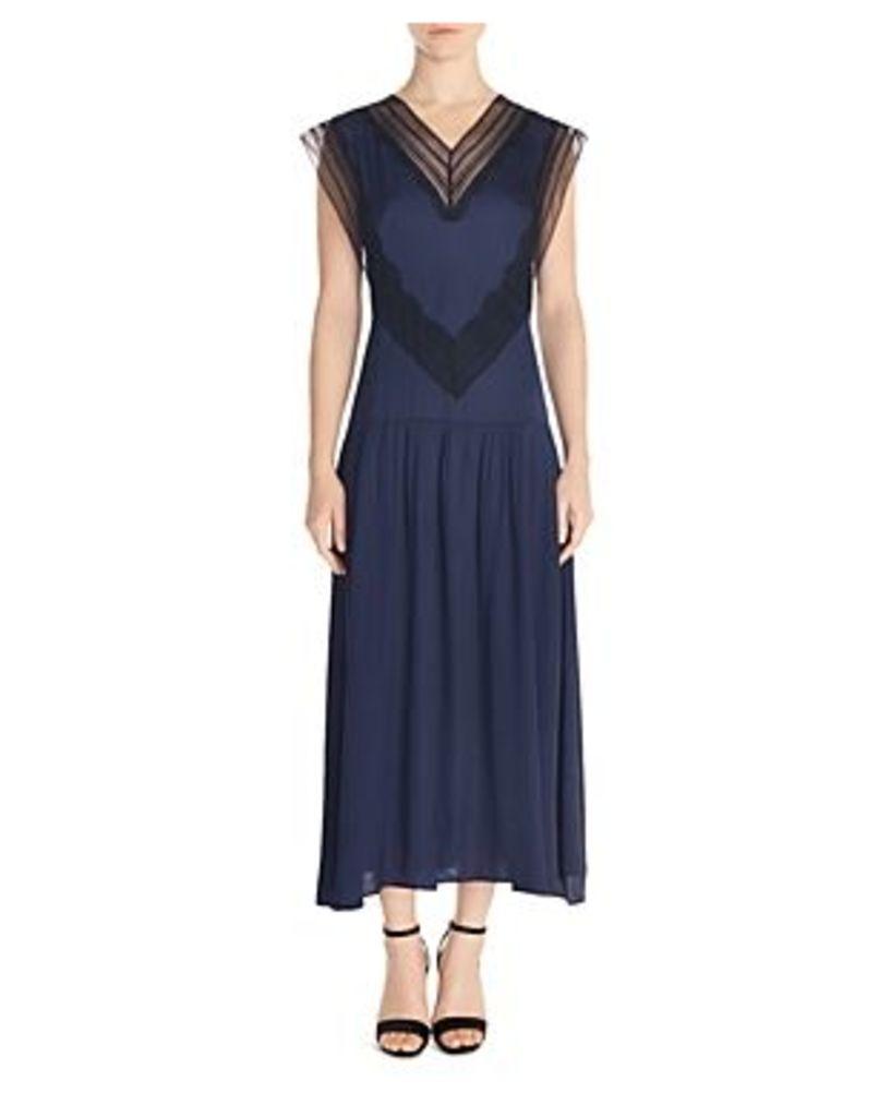 Sandro Eloy Lace-Inset Maxi Dress