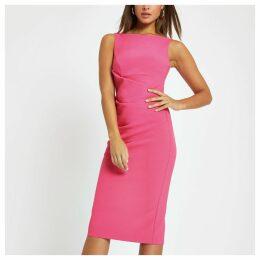 Womens Bright Pink bodycon midi dress