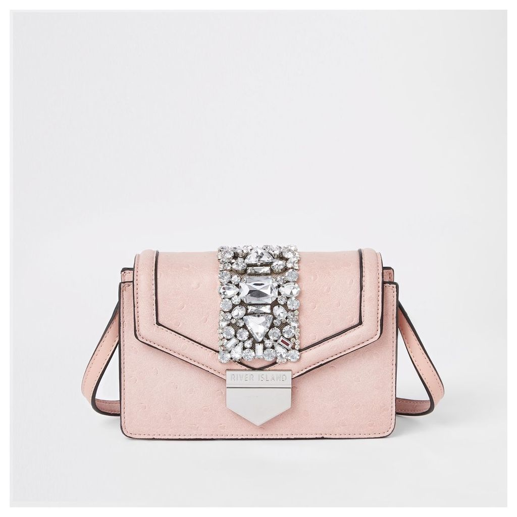 Womens Pink boxy embellished cross body bag