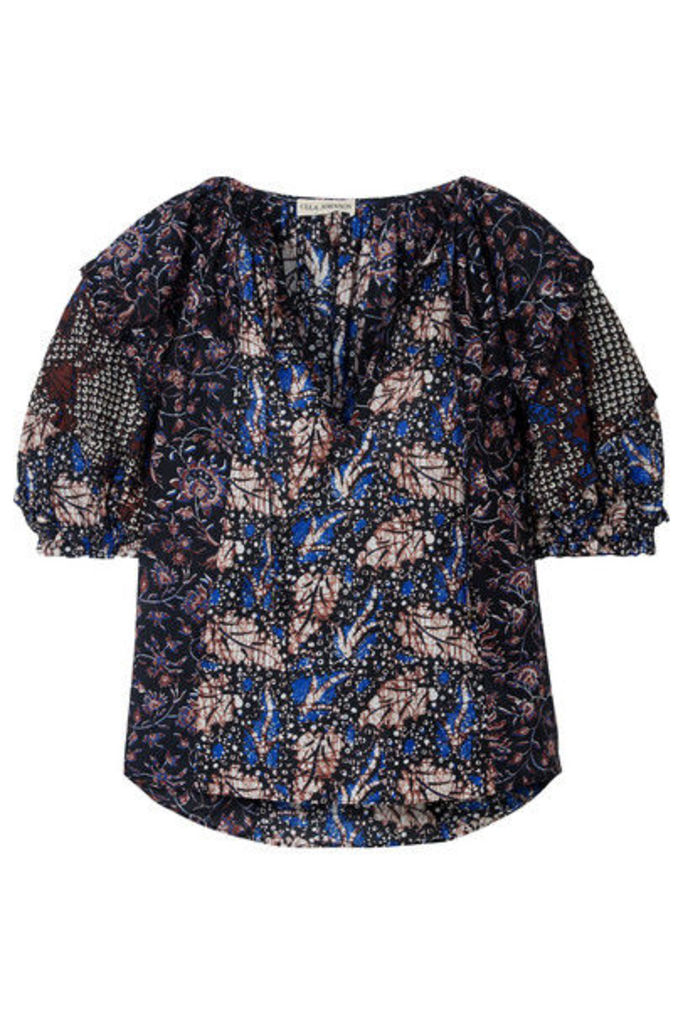 Ulla Johnson - Arusi Printed Cotton And Silk-blend Blouse - Blue