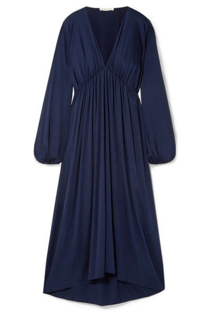 The Row - Sasha Gathered Silk-blend Satin Midi Dress - Navy
