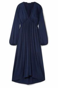 The Row - Sasha Gathered Silk-blend Satin Midi Dress - Navy