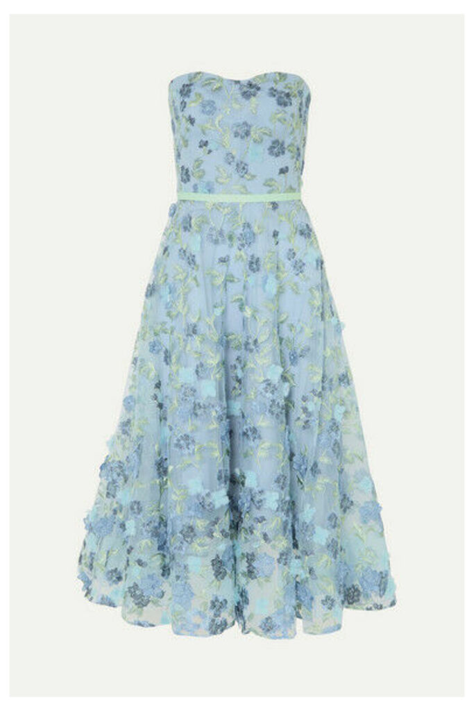 Marchesa Notte - Strapless Satin-trimmed Appliquéd And Embroidered Tulle Gown - Light blue