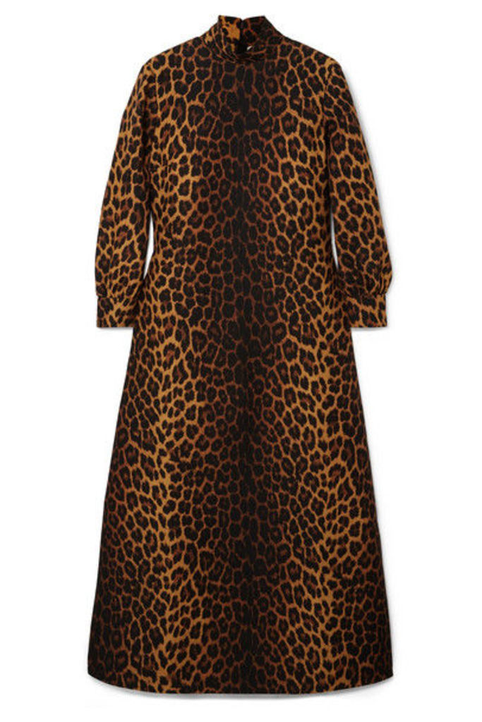 Gucci - Leopard-print Wool-blend Maxi Dress - Leopard print