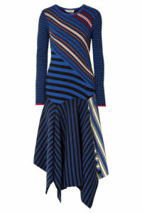 Opening Ceremony - Asymmetric Striped Cotton-blend Midi Dress - Blue