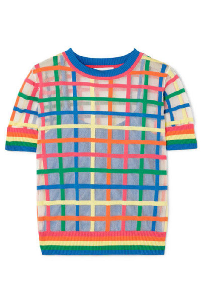 Mira Mikati - Checked Cotton-blend Jersey Sweater - Blue