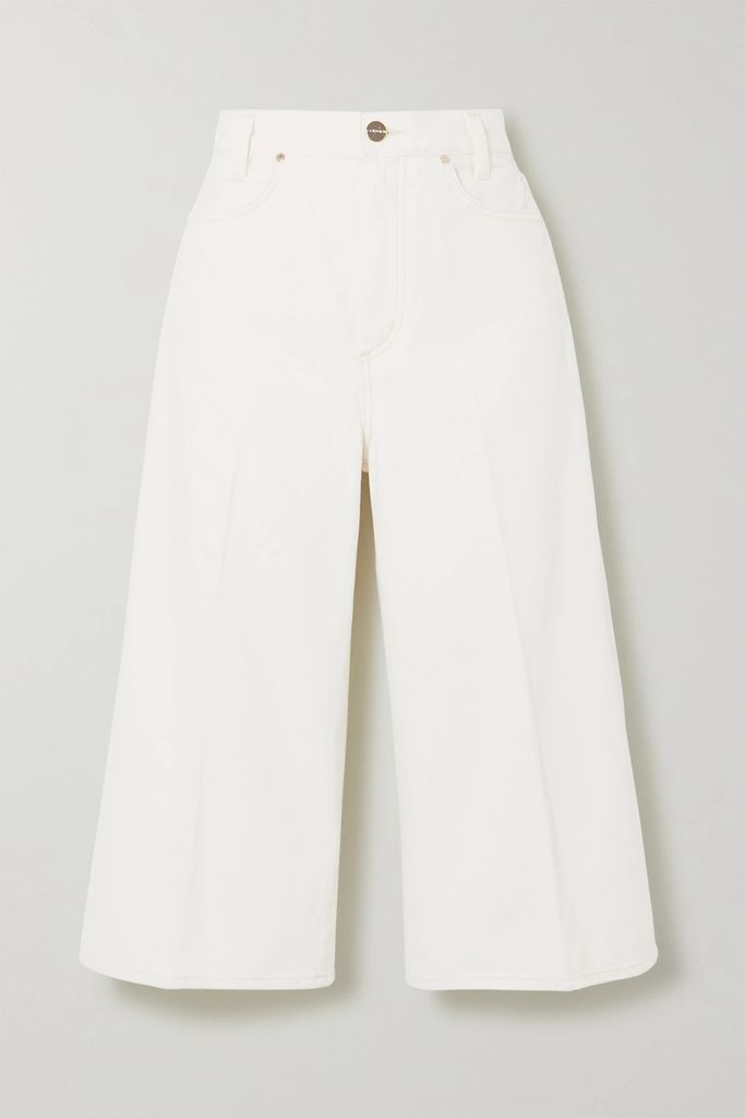 CALVIN KLEIN 205W39NYC - Cutout Crystal-embellished Open-knit Top - Sky blue