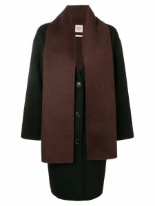 Hermès Pre-Owned 2000 detachable scarf coat - Black