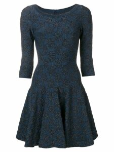 ALAÏA PRE-OWNED glitter detail flared dress - Blue