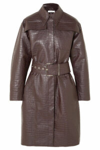 Beaufille - Devera Croc-effect Coated-linen Trench Coat - Plum