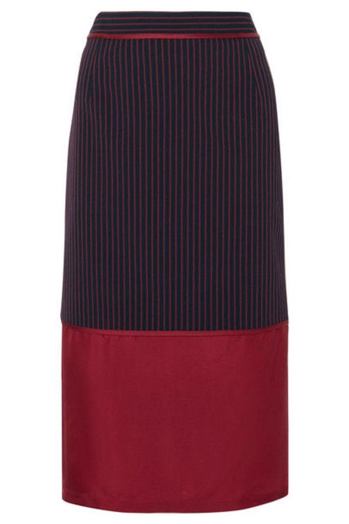 Sies Marjan - Gisela Layered Striped Twill And Silk-satin Midi Skirt - Navy