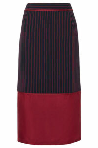 Sies Marjan - Gisela Layered Striped Twill And Silk-satin Midi Skirt - Navy